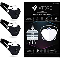 Xtore N-95 FDA CE Certified Antipollution cotton mask | Reusable | Washable | With Valve (Pack of 3 mask, 3 Filters, 3 x…