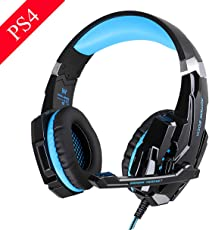 EasySMX G9000 PS4 Stereo Gaming Headset with Mic LED Lighting Noise Cancellation and In-line Controller (Black and Blue,EasySMXG9000BB)