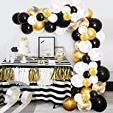 Black Balloon Arch Garland Kit, 100Pcs White Gold Confetti and Metallic Chrome Latex Balloons with Gold Tinsel Curtain for We