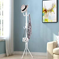 TIED RIBBONS Coat Stand Clothes Hangers Rack (175 cm x 46 cm, White) - Heavy Duty Hanger Stand for Coat Jacket Clothes Helmet Handbags Hat Scarf Umbrellas