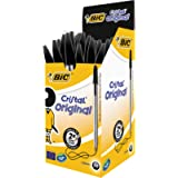 BIC Cristal Original Ballpoint Pens, Medium Point (1.0 mm), Black, Box of 50 - Smudge-Free, Every-Day Writing Pens with…
