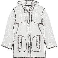 shelikes Womens Ladies Girls Transparent Clear Black Waterproof Raincoat Rain Mac