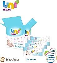 Uni 7300109 Uni Wipes 60'Li Islak Havlu 24 Lü (In Koli), Beyaz
