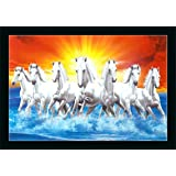 FLORETO 6502 Seven Running Horses in Sea Sunrise UV Coated Framed Animals Painting for Home and Decoration (14x20 Inch, Multi