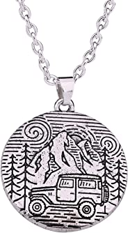 LIKGREAT Antique Silver Camping Pin Tree and Jeep Natural Pendant Necklace