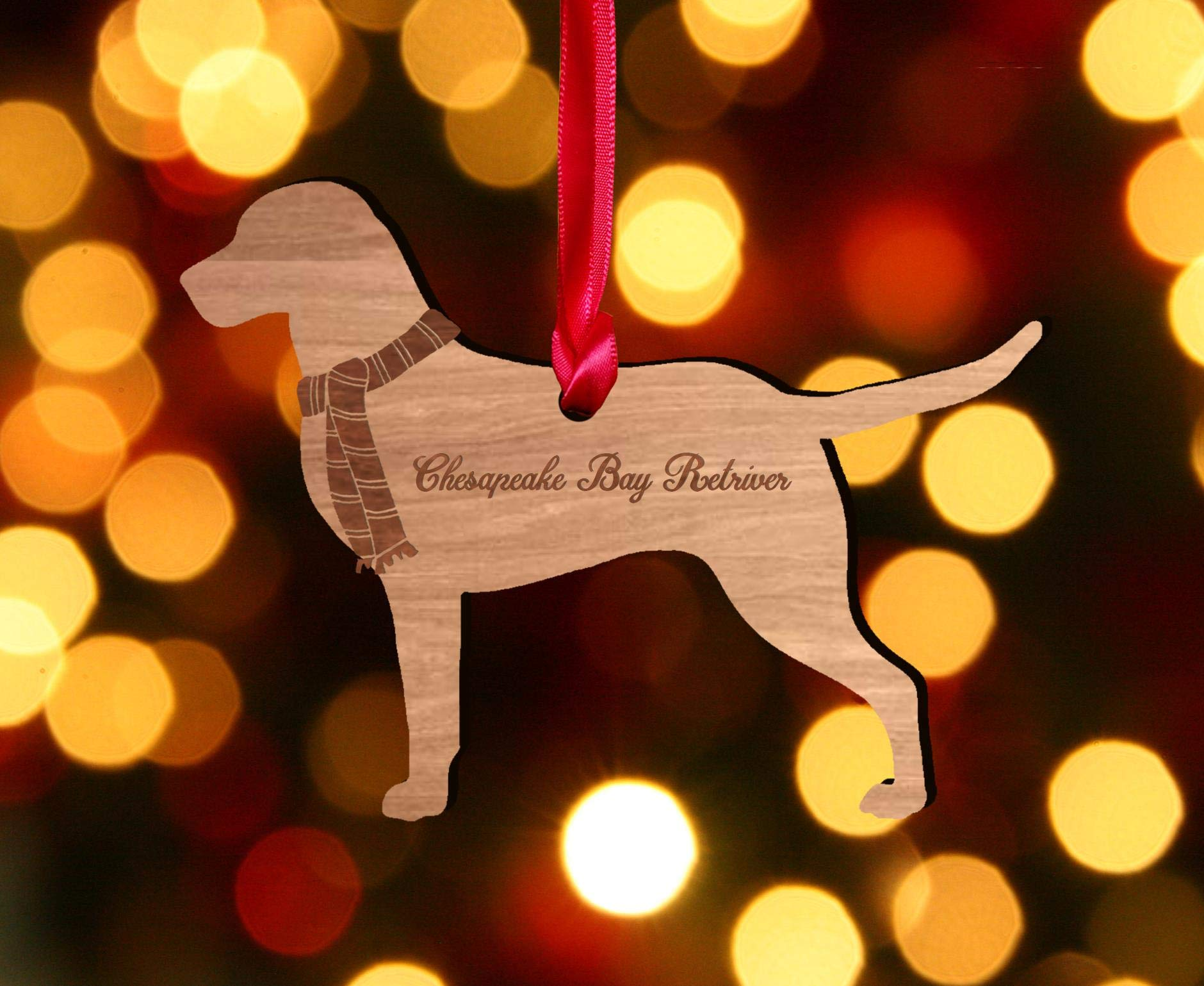 My Pretty Little Gifts Personalised Chesapeake Bay Retriever Wooden Dog Decoration – Sustainable Oak Tree Bauble