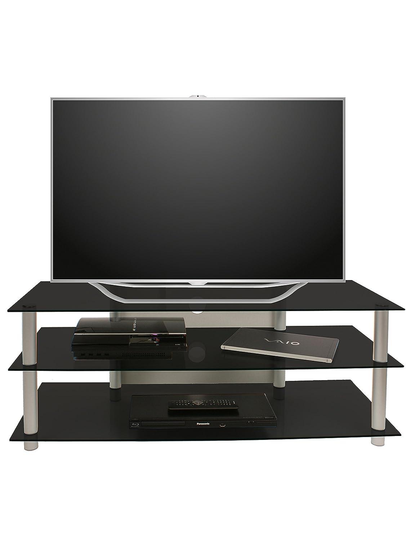 Vcm 14135 Netasa Meuble Tv Aluminium Verre Argent Noir Amazon Fr  # Meuble Tv Noire