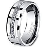 Duke Collections 8mm Tungsten Carbide Ring Zircon Gift for Him Fashion Band Beveled Edge Comfort Fit