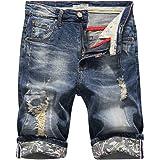 Yonglan Mens Slim Fit Casual Shorts Jeans Shorts Knee Length Ripped Demin Jeans Half Pants