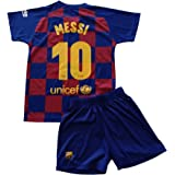 FCB Conjunto Camiseta y Pantalón Primera Equipación Infantil Messi del FC Barcelona Producto Oficial Licenciado Temporada 201