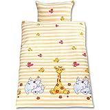 Gräfenstayn® 2 piezas Juego de cama para niños con motivos de animales y cremallera integrada hecha de 100% algodón, funda nó