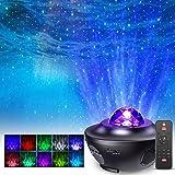 Projecteur Étoiles Rotatif, FOCHEA 21 Modes Éclairage Planetarium Projecteur Luminosité Réglable avec Haut-Parleur Bluetooth,