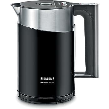 Siemens TW86103 Wasserkocher (2000-2400 Watt max.,1.5 l Volumen, Edelstahlboden) schwarz/silber