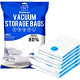 Bobeen Vacuum Storage Bags, 6 Pack (2 Jumbo + 2 Large + 2 Medium) Double-Zip Seal for Clothes, Duvets, Bedding, Pillows…