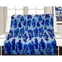 Visnik Leaf Print Woollen Quilt(Razai)/Blanket Cover( Double Bed) Blue