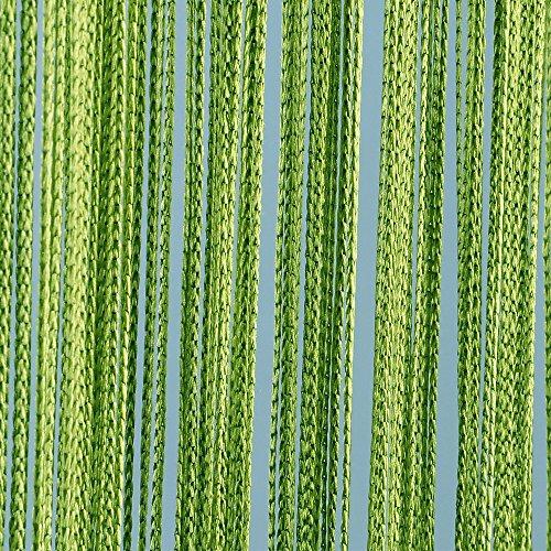 JEMIDI Fadenvorhang Tür Vorhang Gardine Schal Faden Türvorhang Fadengardine in 2 Größen (Grün, 90cm x 250cm)