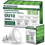 BIG HOUSE GU10 ciepła biel (3000 K), 5 W 400 lumenów lampa LED zamiennik do lamp halogenowych 50 W, kąt świecenia 120°, CRI>8
