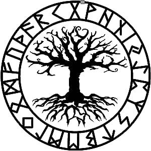 Samunshi Aufkleber Yggdrasil Mit Runen C Vikings Wikinger Für Auto Motorrad In 11 Größen Und 25 Farben 15x15cm Schwarz Küche Haushalt