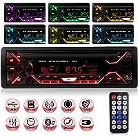 Autoradio Bluetooth, 1 Din Radio de Voiture, 4x60W Poste Radio 7 Couleurs FM Stéréo Radio USB/SD/AUX/EQ/Lecteur MP3…
