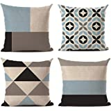 Crown Cuscini Divano Moderni, Cuscini da Divano in Lino Geometrici Blu Motivi per Decorativi Giardino Divano Letto con Cernie