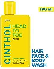 Cinthol Head to Toe, 3-in-1 Wash (Shampoo, Face and Body) - FRESH BURST, 190ml