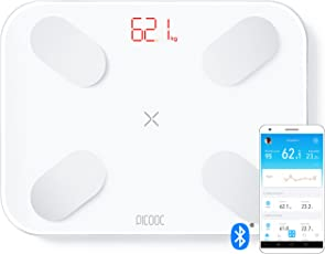 PICOOC S1 Pro Körperfettwaage Bluetooth, App, Künstliche Intelligenz, Extra Breites Design, Körperanalysewaage für Körperfett Wasser Muskeln, Apple Android, Weiß