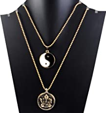 eshoppee Silver color yin yang with shri ganesha, ganesh pendant with chain necklace for remove evils and wrong vibes and for success