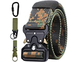 Mens Belt Tactical, Military Style Heavy Duty Nylon Work Belts with Quick-Release Metal Buckle.