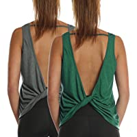 icyzone Workout Tank Tops for Women - Open Back Strappy Athletic Tanks, Yoga Tops, Gym Shirts(Pack of 2)