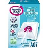 Melitta Handy Bag - A07 - 4 Sacs Aspirateurs, pour Aspirateurs AEG, Progress et Tornado, Fermeture Hermétique, Filtre Anti-Al