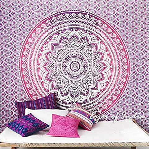 EYES OF INDIA - QUEEN PINK OMBRE MANDALA WALL HANGING TAPESTRY BEDSPREAD Beach Blanket Decor