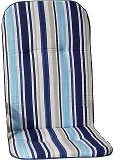 blau Beo Gartenstuhlauflage Gartenstuhlkissen Sitzkissen Polster f/ür Hochlehner Gartenst/ühle Streifen hellblau Weiss und beige