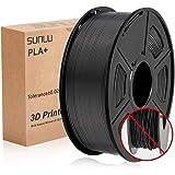 SUNLU PLA+ Filament Noir 1,75 +/- 0,02 mm, Filament pour imprimante 3D PLA Plus 1,75 mm 1kg Bobine pour impression 3D