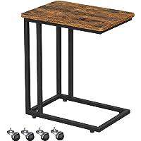 VASAGLE Table d'appoint, Bout de canapé, Table mobile, avec cadre en acier et roulettes, montage facile, style…