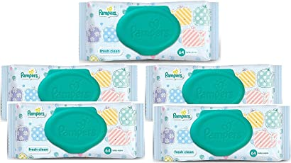 Pampers Fresh Clean Baby Wipes Combo Pack Of 5pcs (Per Pcs 64 Wipes) (168mm x 144mm)