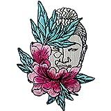 Toppa ricamata da applicare con ferro da stiro o cucitura, tema: Buddha e fiore di loto