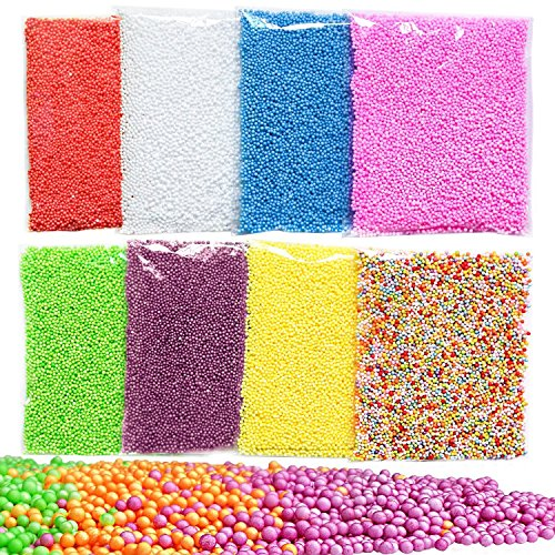 Swallowzy 8Pack Slime perles, Micro polystyrène perles de polystyrène petites boules de mousse pour Slime Making Art bricolage Artisanat, 0.08-0.14 pouces, 50000 pcs