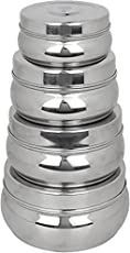 King International 100% Stainless Steel Food Storage Containers   Storage Box   Silver Storage Boxes Set Of 4 Pieces   9.5   10   11.5 13 cm