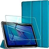 AROYI Funda Compatible con Huawei Mediapad T3 10 y Protector Pantalla, Carcasa Silicona TPU Smart Cover Case con Soporte Func
