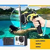 TELESIN [Upgrade Version] 6-Zoll-Unterwasser-Fotografie Dome Port-Gehäuse für Gopro, Wasserdicht Floaty Einbeinstativ Dome Port für die Gopro Hero 3/3 + Hero 4 Kamera-Zubehör TM036