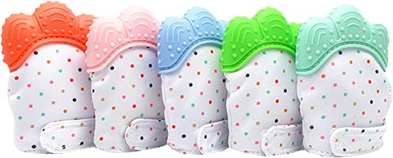 Baby Grow Teething Mitten for Infants Baby Boys & Girls Silicone Teething Mitt Teether Gloves BPA Free Self-Soothing Pain Relief Mitt Teething Toys Ideal Baby Shower Gift (Pista)