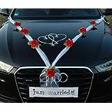 ORGANZA m bijoux de mariée en forme de de cœurs roses pour décoration de voiture de mariage ratan décorations guirlande décor