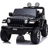 TOYSCAR electronic way to drive Auto Macchina Elettrica Jeep Wrangler Rubicon 12V per Bambini Porte apribili con Telecomando Full Accessori (Nera)
