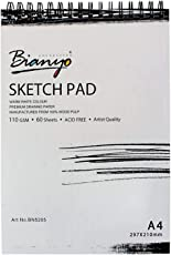 Bianyo Artist Quality Sketch Pad - Acid Free.110 GSM. A4 Size. 60 Sheets