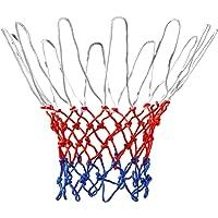 TRIXES Rete per canestro da Basket 12 Anelli Nylon Rosso/Bianco/Blu