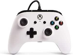 PowerA Controller cablato Licenza ufficiale di Microsoft e compatibile con Xbox One, Xbox One S, Xbox One X e Windows 10, Bianco