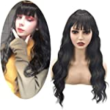 TGYHCJBY Black Wigs for Women with Roots Black Loose Wavy Curly Wig Use Party Show ,Halloween wigs (Black)