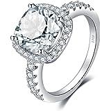 JewelryPalace Cuscino 3ct Cubic Zirconia Promessa Halo Solitario Fidanzamento Anello 925 Sterling Argento