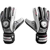 SPORTOUT Youth Adult Goalie Goalkeeper Gloves,Football gloves, Strong Grip for The Toughest Saves,With Finger Spines For Men,