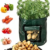 Highpot_Home Garden Potato Grow Bags with Flap and Handles, Planter Bags for Planting Vegetables,Onions,Radish,Taro and…